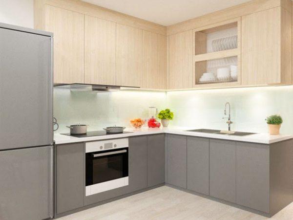 tủ bếp hiện đại đẹp giá rẻ tphcm, tủ bếp chữ L chung cư nhà phố