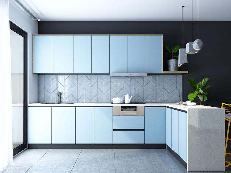 tủ bếp gỗ công nghiệp hiện đại màu xanh đẹp giá rẻ tphcm