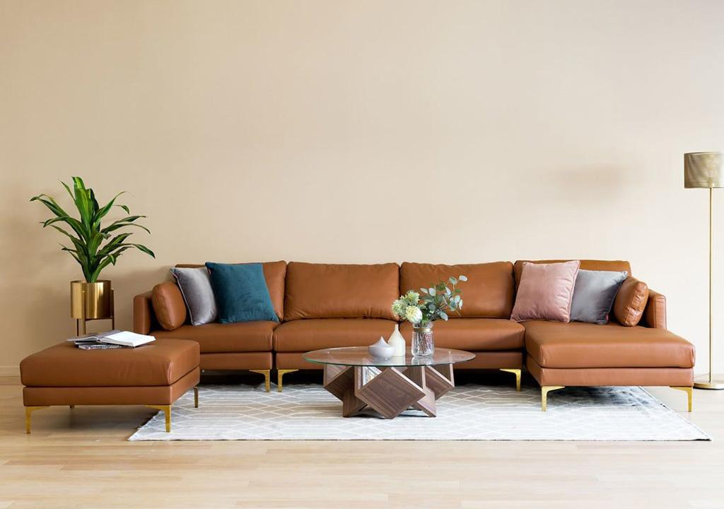 sofa góc bọc simili màu da bò