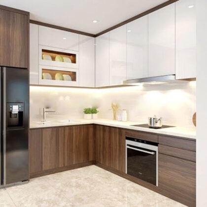 Tủ bếp đẹp hình chữ L giá rẻ tphcm